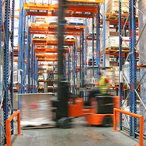 Forklift in warehouse image