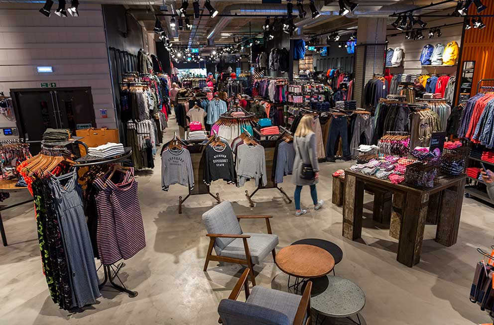 Superdry shopping mall in store shopping view Toby Smedley high street retail photography image