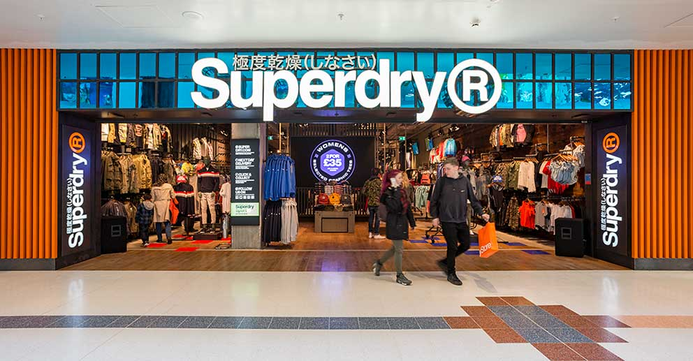 Superdry shopping mall store shop front frontage branding shopping shoppers image