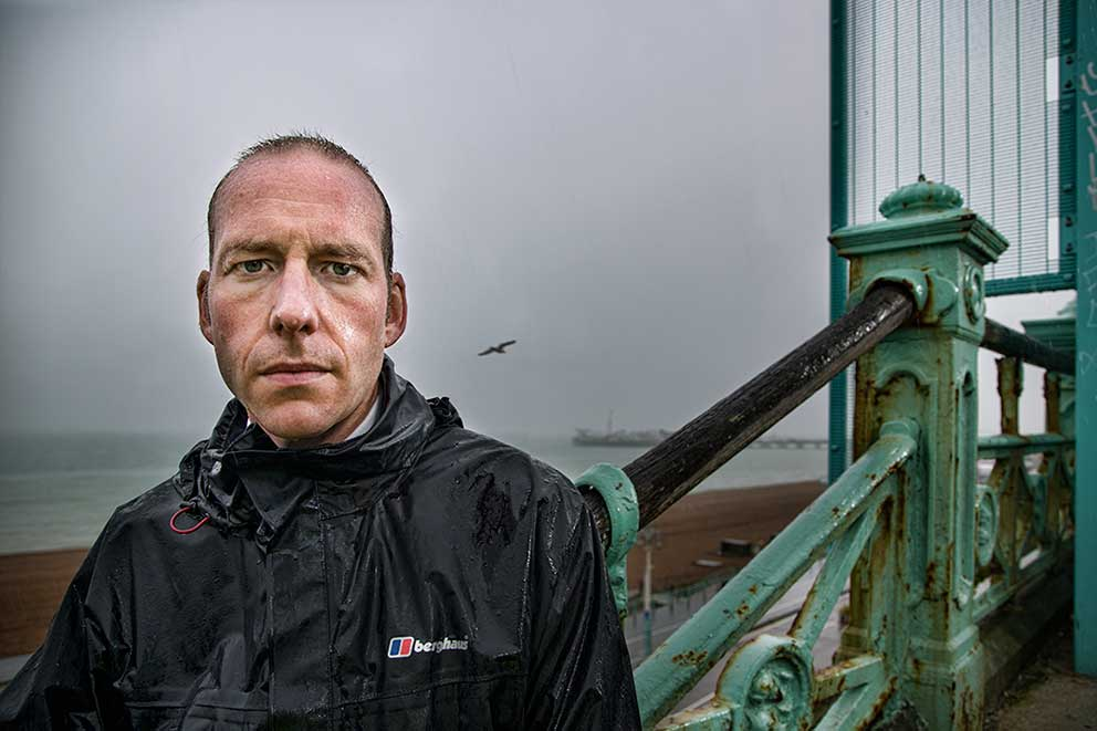 TV Show Promo Photography ITV The Brighton Police portrait photography policeman Seafront Rain image